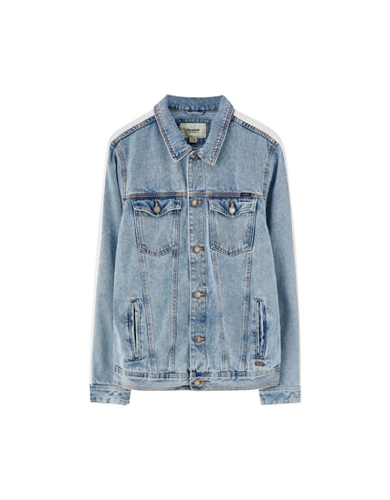 Denim jacket with white band