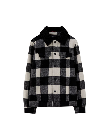 Check woolly fabric trucker jacket
