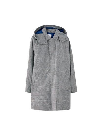 Veste longue à carreaux avec capuche