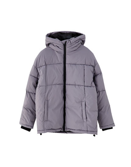 Cropped puffer jacket with hood