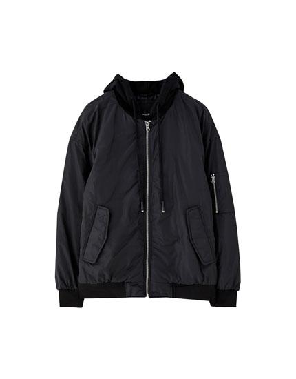 Unisex hooded bomber jacket