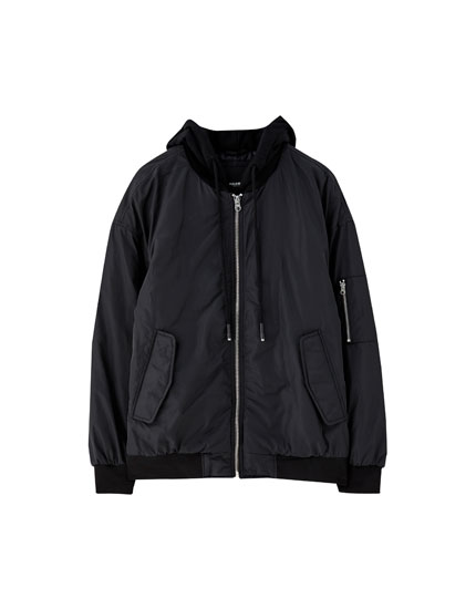 Unisex hooded bomber jacket