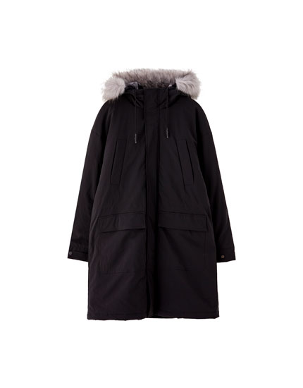 Faux-fur-lined puffer jacket