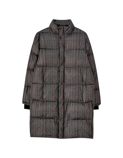 Sobretudo tipo casaco penas aos quadrados