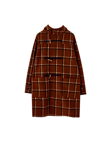 Checked duffle coat with toggles