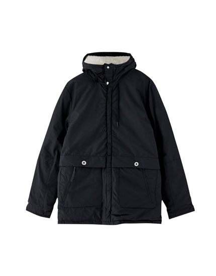 Quilted technical jacket with hood