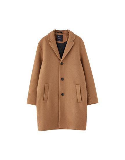 Camel classic-cut coat with lapel collar