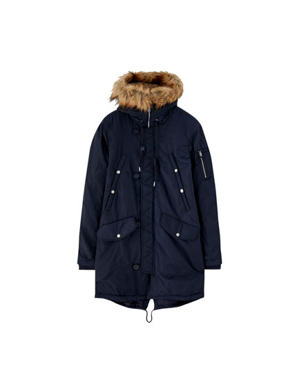 Parka with faux-fur-trimmed hood