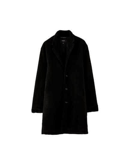 Faux shearling coat with lapel collar