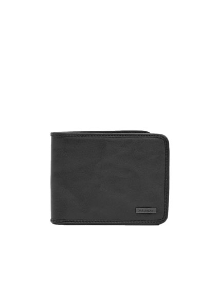 Faux leather wallet with piped seams