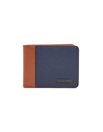 Blue and brown panelled wallet