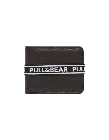 Black wallet with rubber logo strap