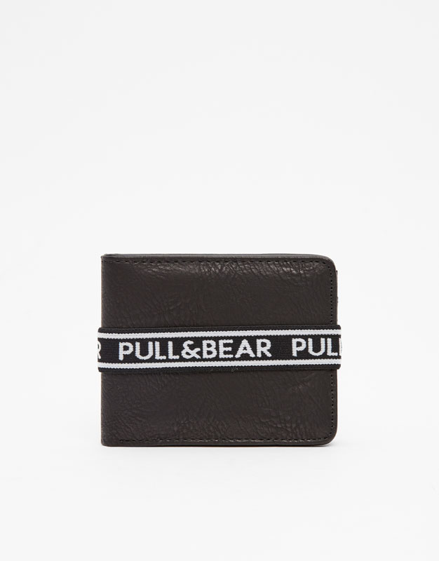 Pull & Bear - Black wallet with rubber logo strap - 1
