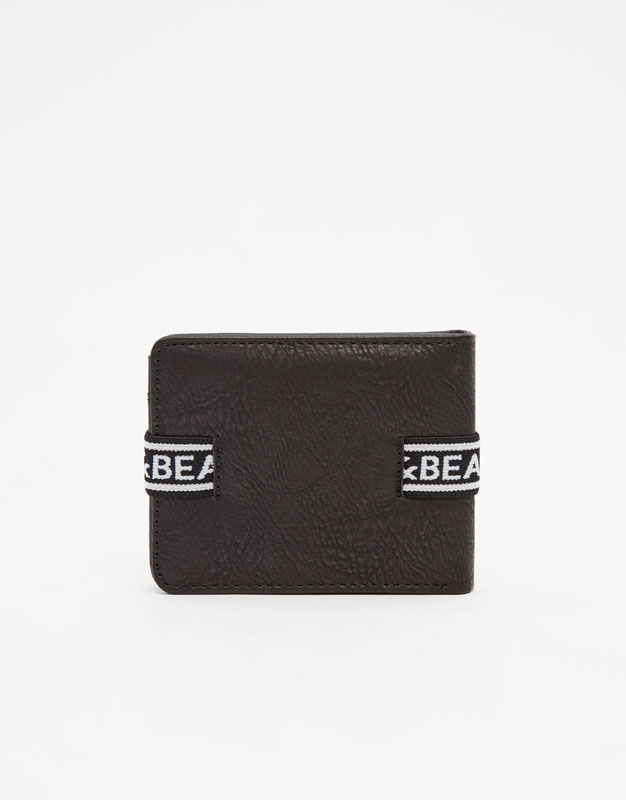 Pull & Bear - Black wallet with rubber logo strap - 4