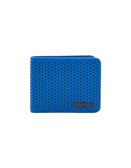 Blue wallet with micro-perforations