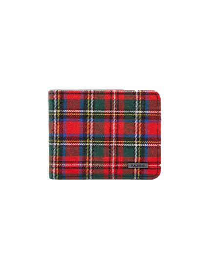 Red tartan check wallet