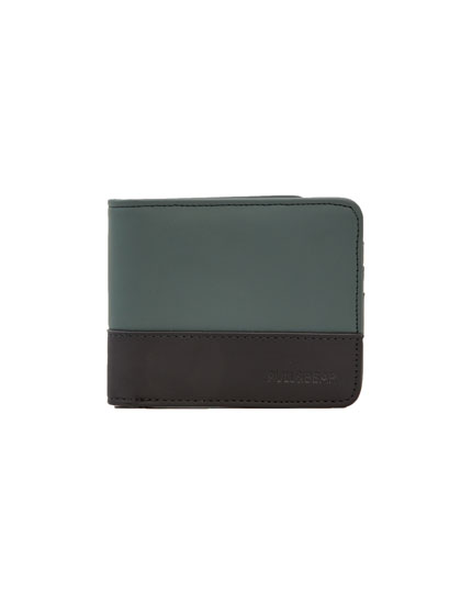 Two-tone panelled wallet with elastic