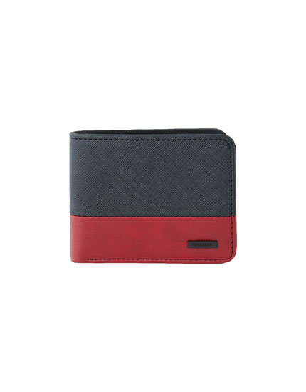 Two-tone red and black faux leather wallet