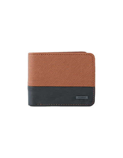 Two-tone brown and black faux leather wallet
