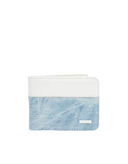 Denim and white panelled wallet