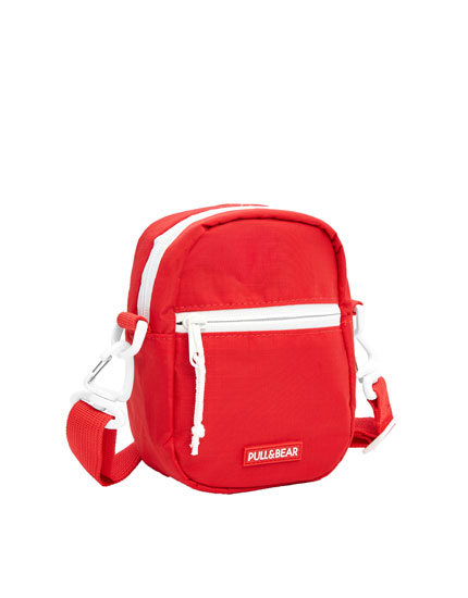 Small red ripstop crossbody bag