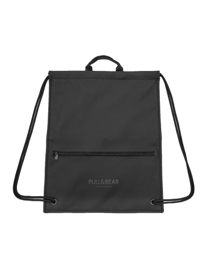 Black drawstring backpack