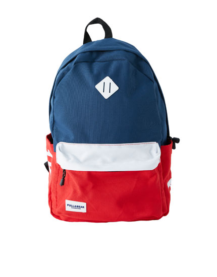 Red and blue panel backpack