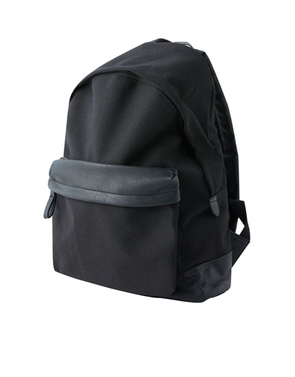 Canvas backpack with front pocket