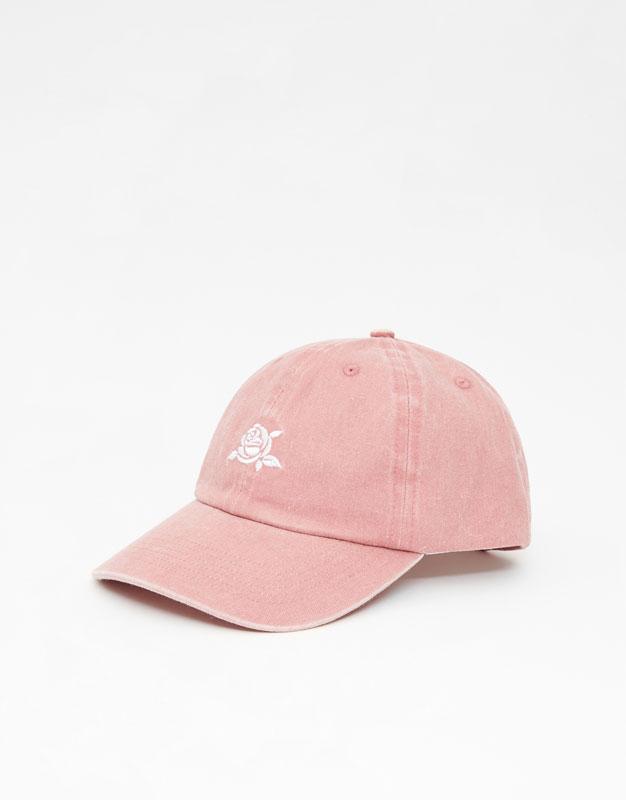 Розовая кепка с вышивкой by Pull & Bear