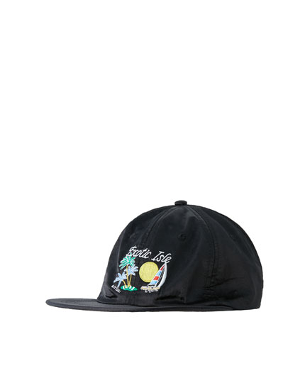 Embroidered satin cap