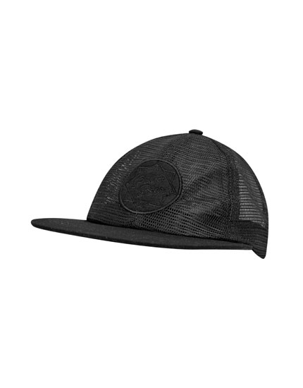 Black mesh cap with patch