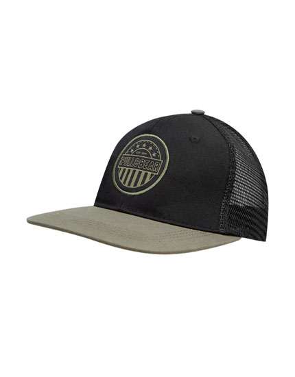 Green mesh cap with patch