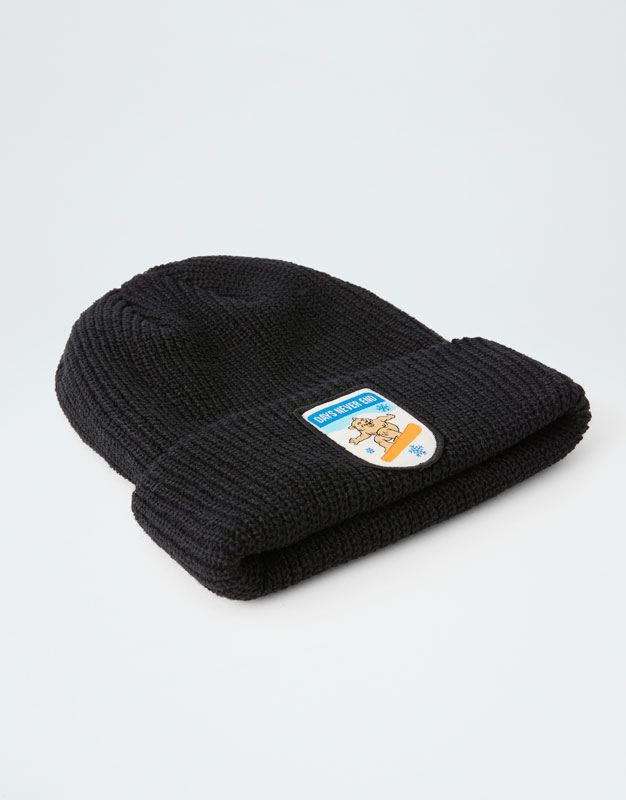 1a0f20ccb3f Knit beanie with bear patch