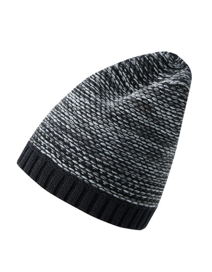 Black flecked knit hat