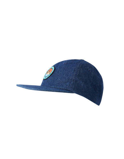 Denim cap with patch