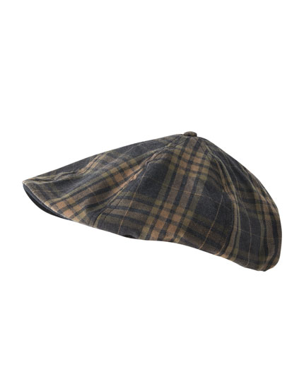 Blue and mustard yellow check cap