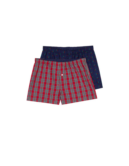 Pack of 2 checked and roses boxers