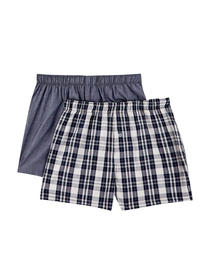 Pack of 2 checked poplin boxers