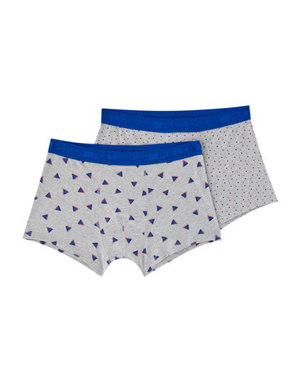 2-pack of triangle and pindot boxers
