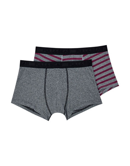 2-pack of striped and melange boxers