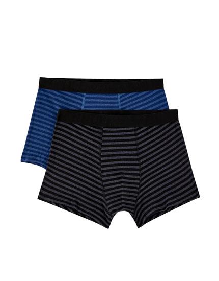 2er-Pack Boxershorts mit blau-schwarzem Streifenprint