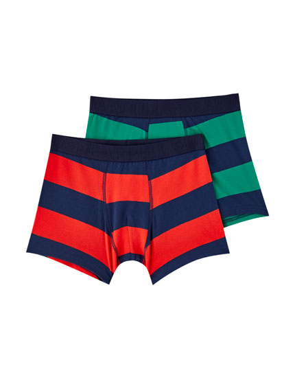 2-pack of green and red striped boxers