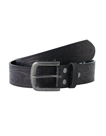 Raised floral print belt