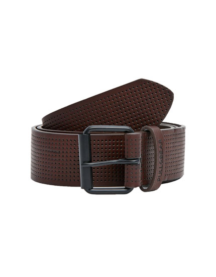 Brown perforated double-loop belt