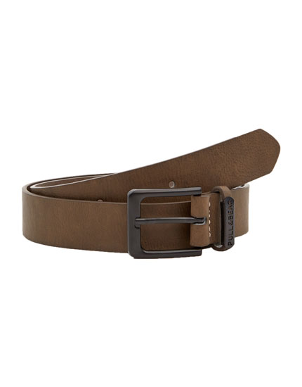 Brown faux leather belt with loop