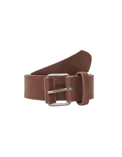 Dark brown faux leather belt