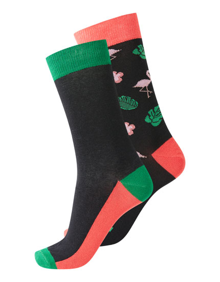 Pack of long flamingo and colour block socks