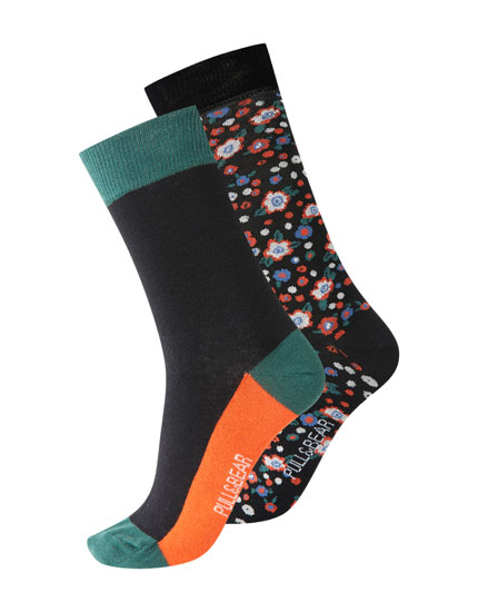Pack of 2 pairs of floral print long socks