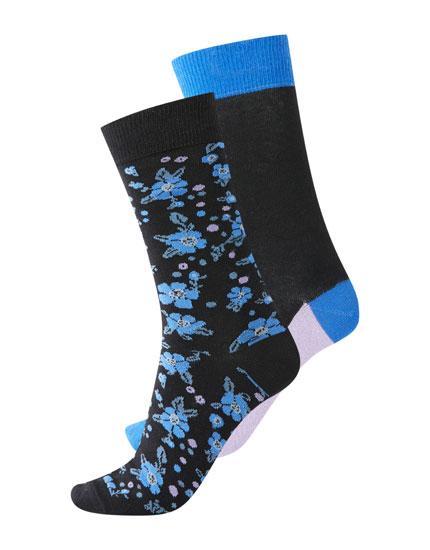 Pack de 2 calcetines altos flores y liso