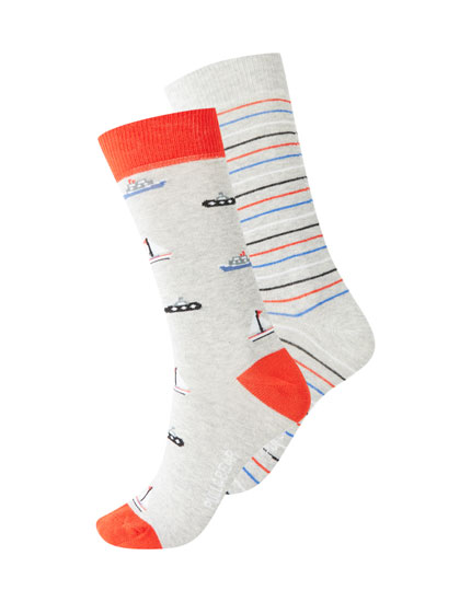 Pack of long boat and stripe socks